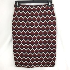 Trina Turk Wool Pencil Skirt Zig Zag Chevron Knit